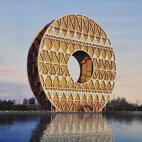 Mandatory Credit: Photo by Imaginechina/REX Shutterstock (2078090a)Coin Building, Guangzhou city, Guangdong province, southeast China - named as one of China's 10 ugliest buildingsCoin Building, Guangzhou city, Guangdong province, southeast China - 15 Jan 2013